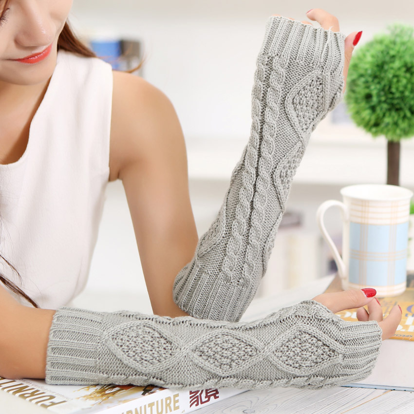 Sparsil Women Half Finger Warm Mittens Autumn Winter Thread Knitted Twist Arm Elbow Sleeve Fingerless Long Gloves 30cm Female