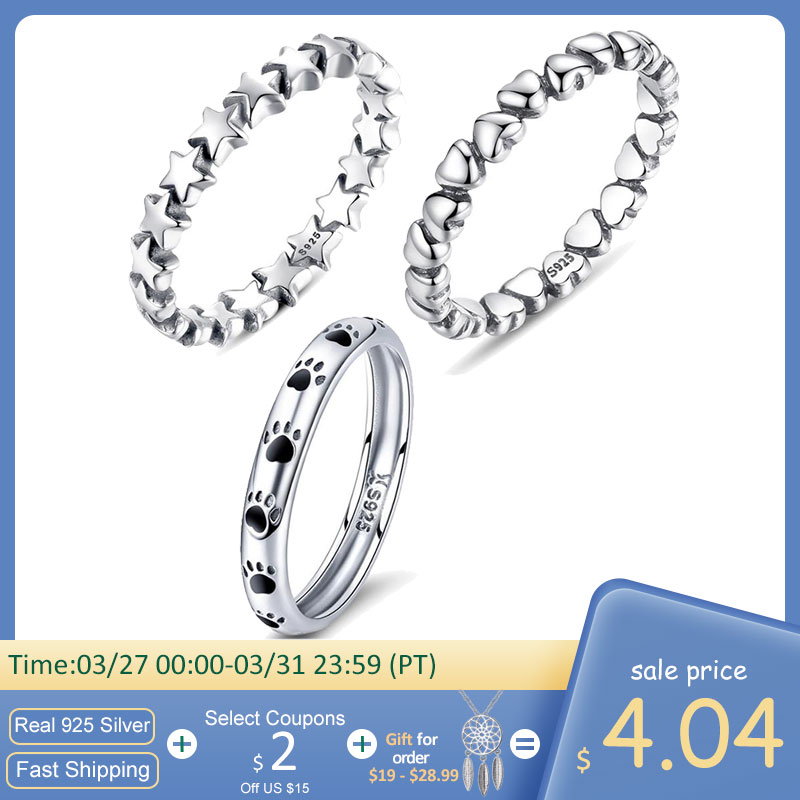 BISAER 925 Sterling Silver LOVE Heart Wedding Ring Jewelry STAR Footprints Silver 925 Finger Rings For Women Engagement Anel