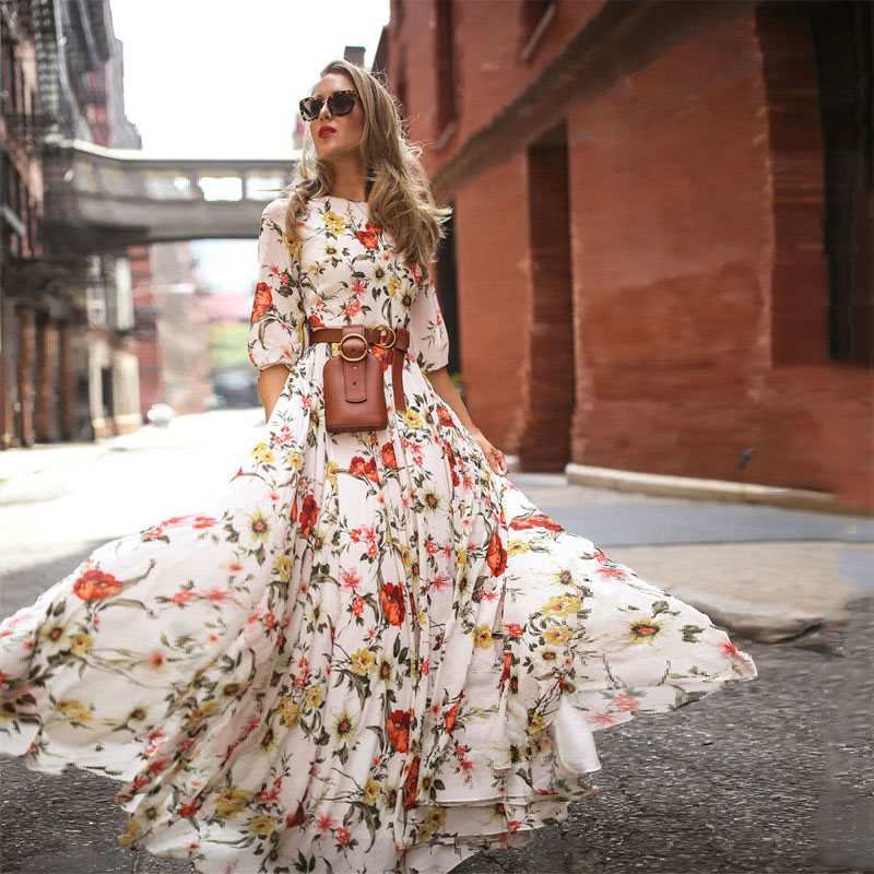 Hirigin Summer Long Dress Floral Print Boho Beach Dress Tunic Maxi Dress Women Party  Dress Sundress Vestidos De Festa