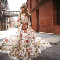 Hirigin verão vestido longo floral impressão boho vestido de praia túnica maxi vestido de festa feminino vestidos de festa