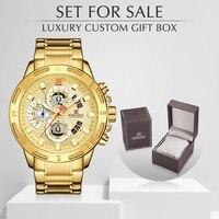 Relojes para hombre de cuarzo de lujo de marca NAVIFORCE reloj cronógrafo de acero completo con caja para la venta a prueba de agua