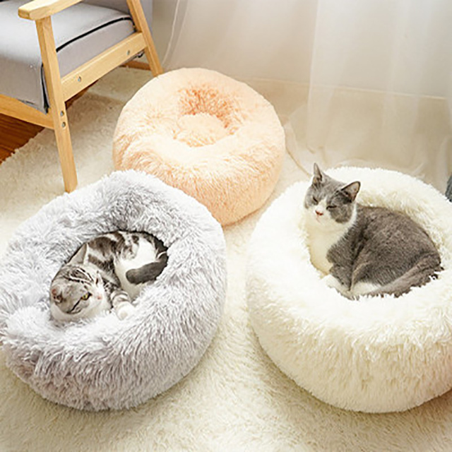 Cat Bed House Round Long Plush Super Soft Pet Dog Bed Winter Warm Sleeping Bag Puppy For Large Dogs Nest Products Cat Mat 2
