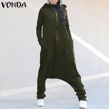 VONDA Rompers Womens Jumpsuit Plus Size Women Hooded Drop Crotch Sexy J