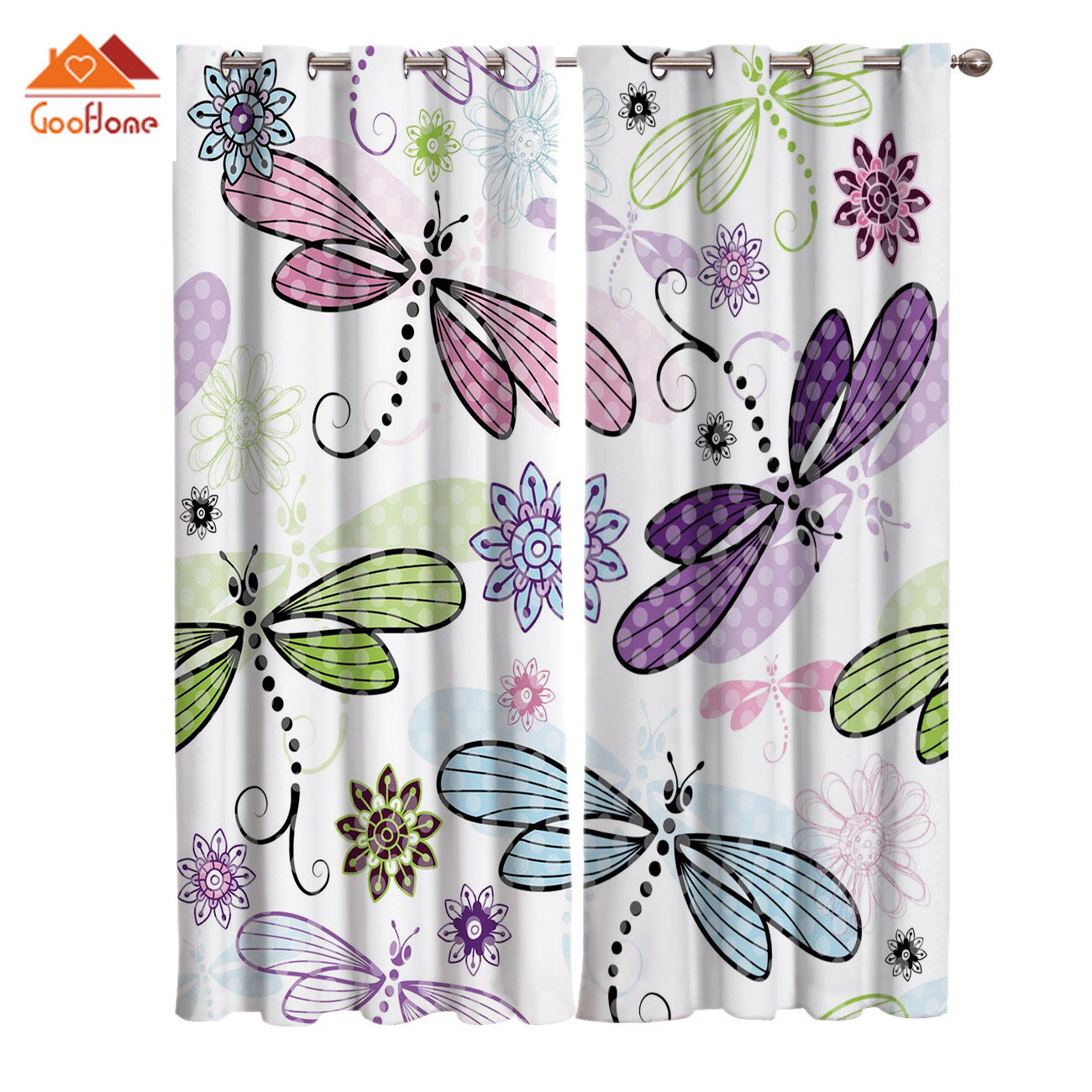 Dragonfly And Flower Window Curtains