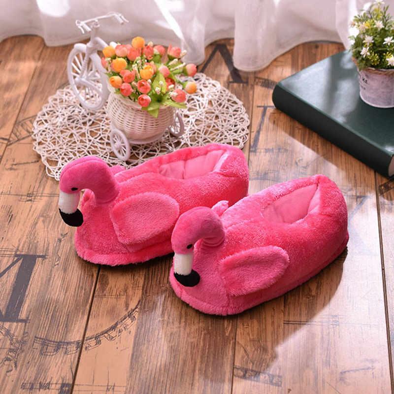 2019 ผู้หญิงฤดูหนาวรองเท้าแตะสุภาพสตรี WARM FUR Plush แบนรองเท้า House หูหญิงแฟชั่นสบายๆสบาย Flamingo หมู