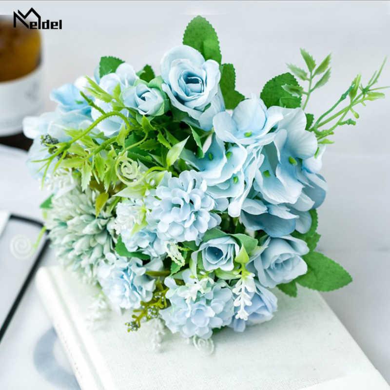 Meldel ปลอมดอกไม้ช่อ 7 หัวไฮเดรนเยียดอกไม้ช่อประดิษฐ์ผ้าไหม Blooming Rose Peony Pompon เจ้าสาวงานแต่งงานตกแต่ง