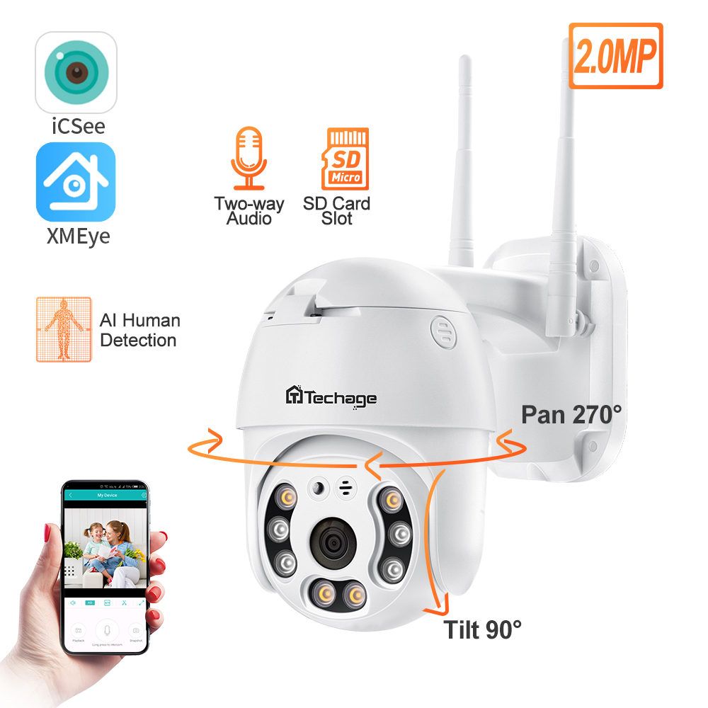 Techage 1080P Wifi Camera H.265 Waterproof Speed Dome Outdoor Wireless Camera Two Way Audio Home  CCTV Surveillance Camera