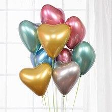 цена на 10pcs Heart Glossy Metal Latex Balloons Thick Chrome Metallic Ballon Inflatable Globos Wedding Birthday Party Decorations Kids