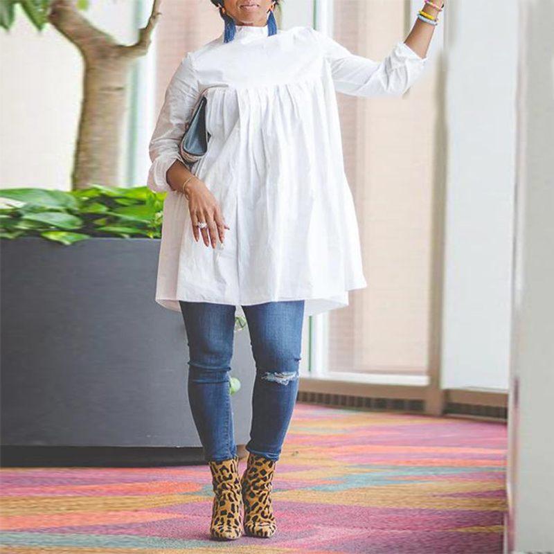 VONDA Plus Size Women's Shirts Dress 2020 Female Long Sleeve Blouse Casual Loose Tops Vintage Long Blouse Vestidos Baggy S-5XL