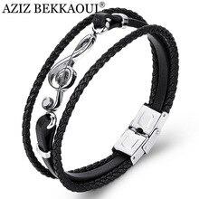 AZIZ BEKKAOUI уникальные панк из нержавеющей стали МУЗЫКАЛЬНЫЕ браслеты «ноты» мужской кожаный браслет для женщин веревочный браслет Прямая поставка