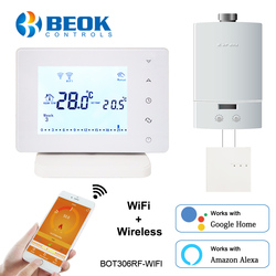 Beok Wireless Wifi Smart Thermostat for Gas Boiler Temperature Controller Works with Google Home Alexa