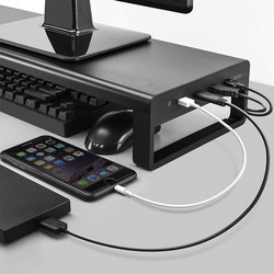Laptop Desk Stand Aluminum Monitor Stand Computer Riser Support Transfer Data Charging Office Table Organizer USB 3.0