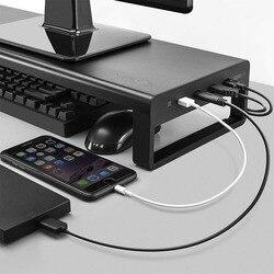 Soporte de escritorio para ordenador portátil, soporte de Monitor de aluminio, soporte elevador para ordenador, transferencia de datos, carga de oficina, organizador de mesa USB 3,0