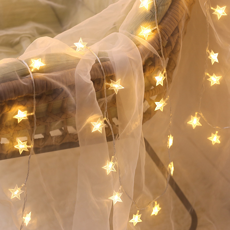 Star String Lights LED Twinkle Lights Indoor Outdoor Fairy Lights Wedding Festival Light For Bedroom Curtain Tents Decoration