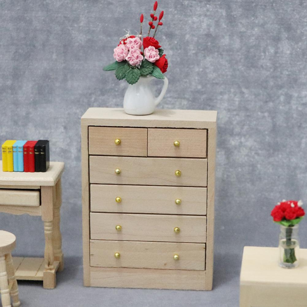1/12 5-Layer Wooden Drawer Cabinet Unpainted Miniature Doll House Accessory Children's Toys