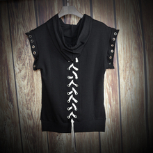Korean version of the Slim Japanese mens sleeveless hooded boys t-shirt Harajuku style trend solid color summer sexy