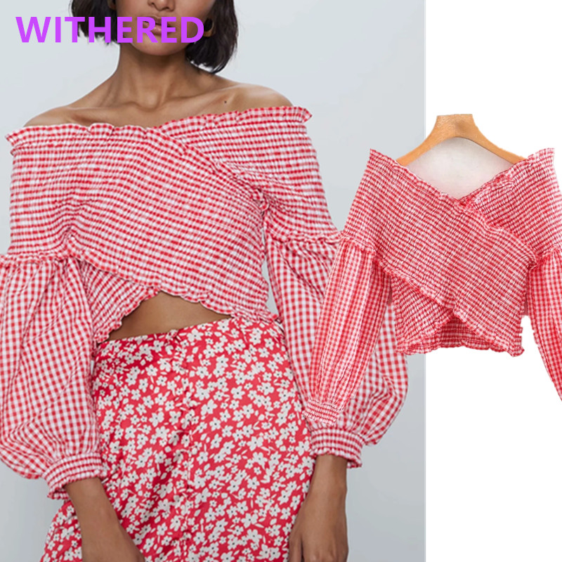 Withered England High Street Vintage Plaid Across Puff Sleeves Exy Blouse Women Blusas Mujer De Moda 2020 Short Shirt Womens Top