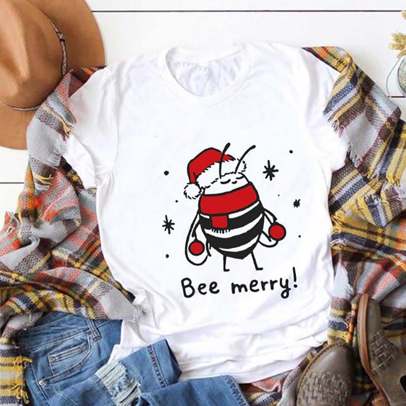Bee Frohe Weihnachten Geschenk Frauen T-shirt Sparen Die Bienen T-shirt Girs T-shirt Tops Ästhetischen Kawaii Damen Shirts