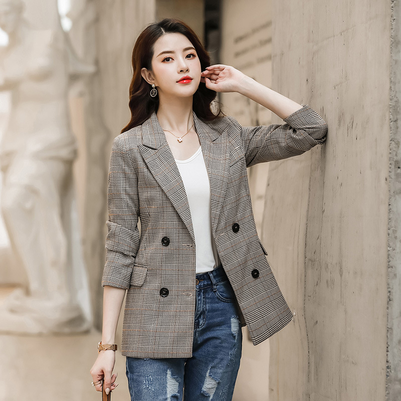 Casual Blazer Female 2019 New Slim Double-breasted Autumn Women's Jacket Large Size Temperament Lady Office Plaid Jacket