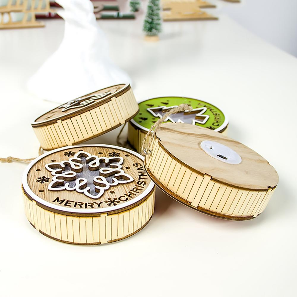 Staraise Wooden Light Pendant Christmas Decoration For Home Christmas Tree Decor 2019 Navidad Natal Ornament Craft Party Decor in Pendant Drop Ornaments from Home Garden