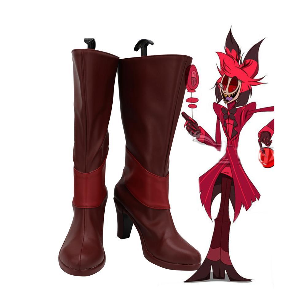 Hazbin Hotel Alastor Cosplay Boots High Heel Leather Shoes Alastor Red Boots Custom Made