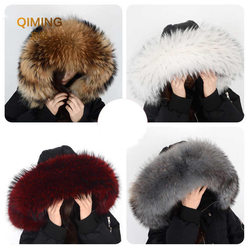 Winter Coat Female Neck Cap Long Warm Genuine Fur Scarf Big Size 100% Neck scarf Fur Collar Real Raccoon Fur Women Scarves L44