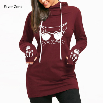 Long Hoodies Women Harajuku Cat Print Hooded Tops Autumn Winter Casual Full Sleeve Women's Sweatshirt Female Oversized Pullovers autumn winter hoodies women sweatshirts 2019 heart print hooded long sleeve sweatshirt casual pocket pullovers female tops hot