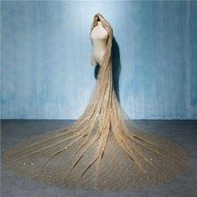 ゴールド 3 メートルの結婚式のブライダルベールロング花嫁豪華な大聖堂ベールトレインシャイニーケバケバベールスパンコールブライダルアクセサリー