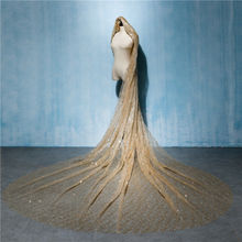 Gold 3Meters Wedding Bridal Veil Long Bride Luxurious Cathedral Veil Train Shiny Bling Bling Veil Sequins Bridal Accessories