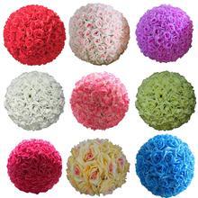 8 inç düğün yapay gül ipek çiçek topu asılı dekorasyon Centerpiece gül öpüşme topları dekoratif parti dekorasyon