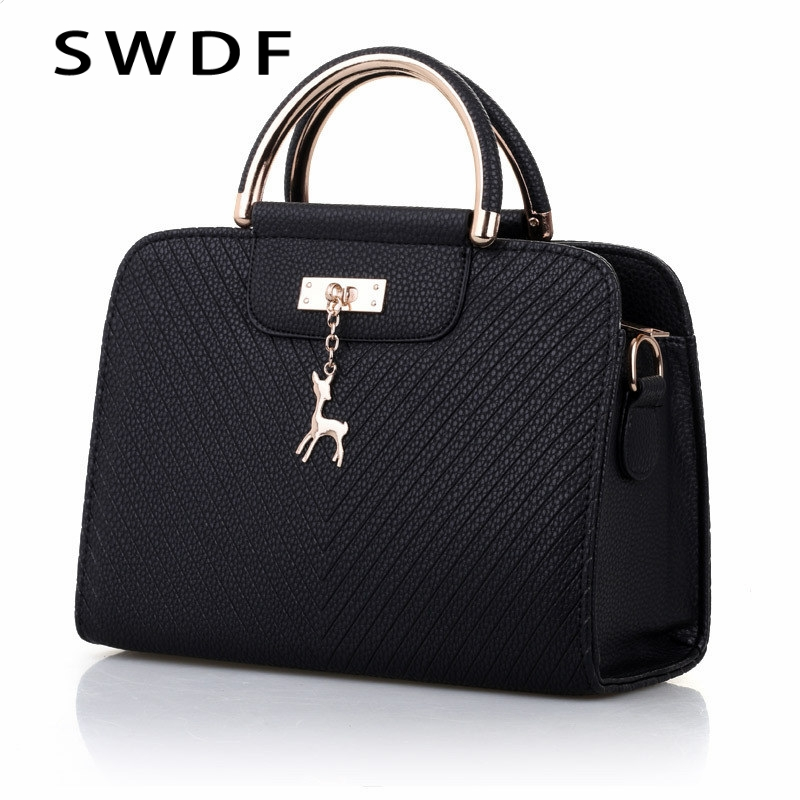 SWDF  Handbags 2020 New Women Leather Bag Large Capacity Shoulder Bags Casual Tote Simple Top-handle Hand Bags Women Bags Ladies
