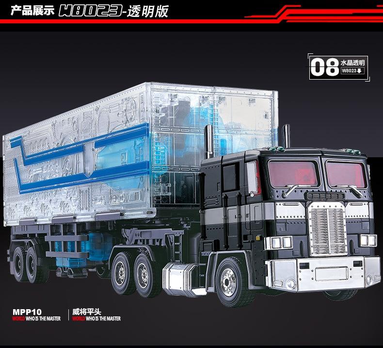 Lensple Transformation Optimus Prime Transparent MPP10 WEIJIANG remorque OP Commander surdimensionné figurine Robot jouet