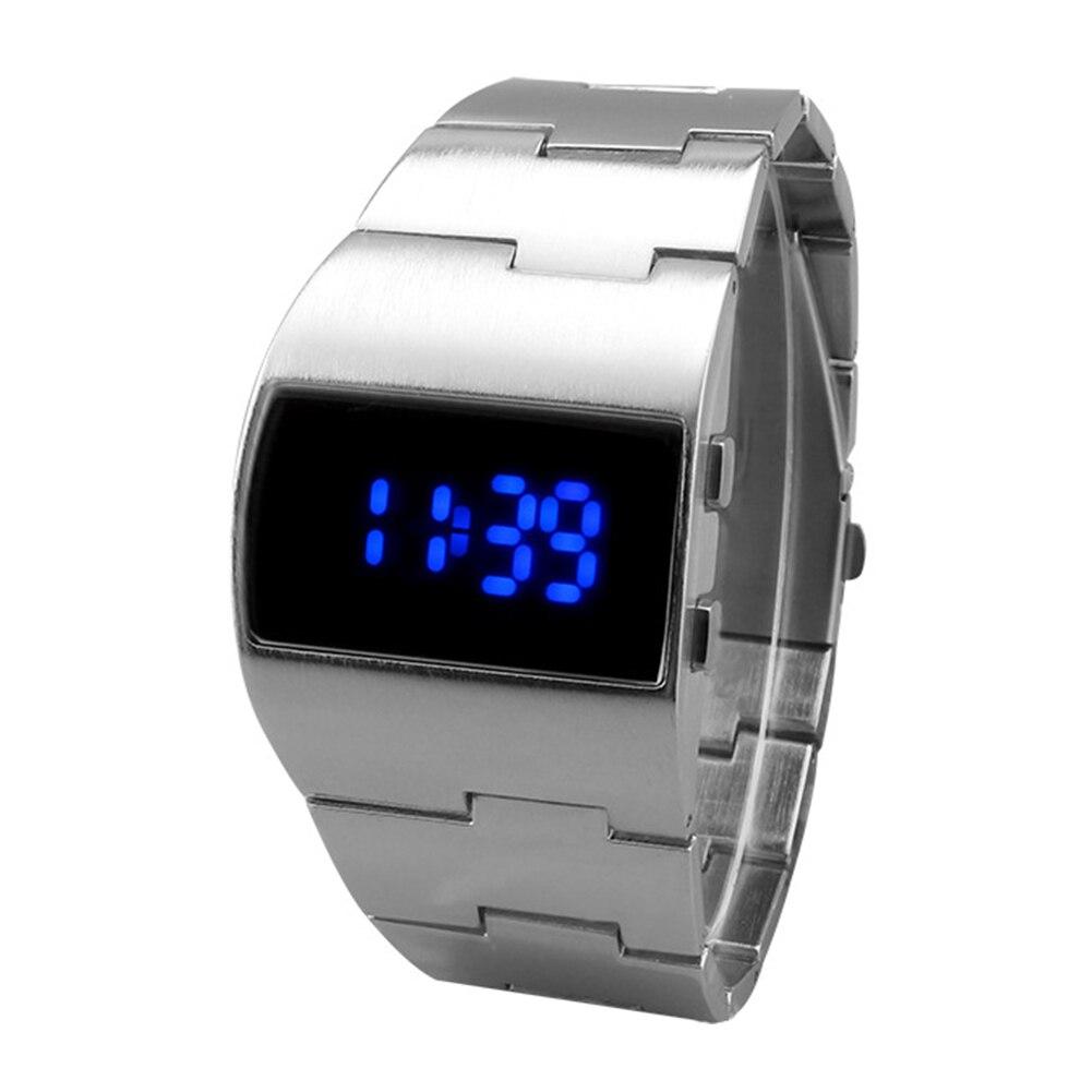 Men Women Business Iron Man Electronic Portable LED Display Outdoor Digital Watch Decoration Gift Bracelet Cool Adjustable