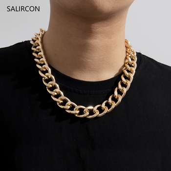 Salircon Punk Simple Chunky Chain Necklaces for Women Men Goth Thick Chain on the Neck Choker Necklace Jewelry Gift 2021 Trend salircon punk miami curb cuban chain rhinestone necklaces multi layer chunky choker lock pendant necklace women men goth jewelry