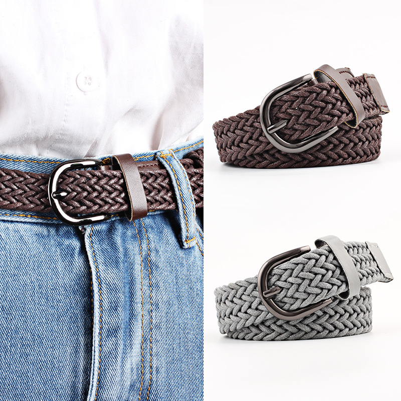 103cm Stretch Woven Belt Casual Wax Rope Braided Belt Female Belt 2019 Belts For Women Jeans Women's Belt With Metal Buckle Hot