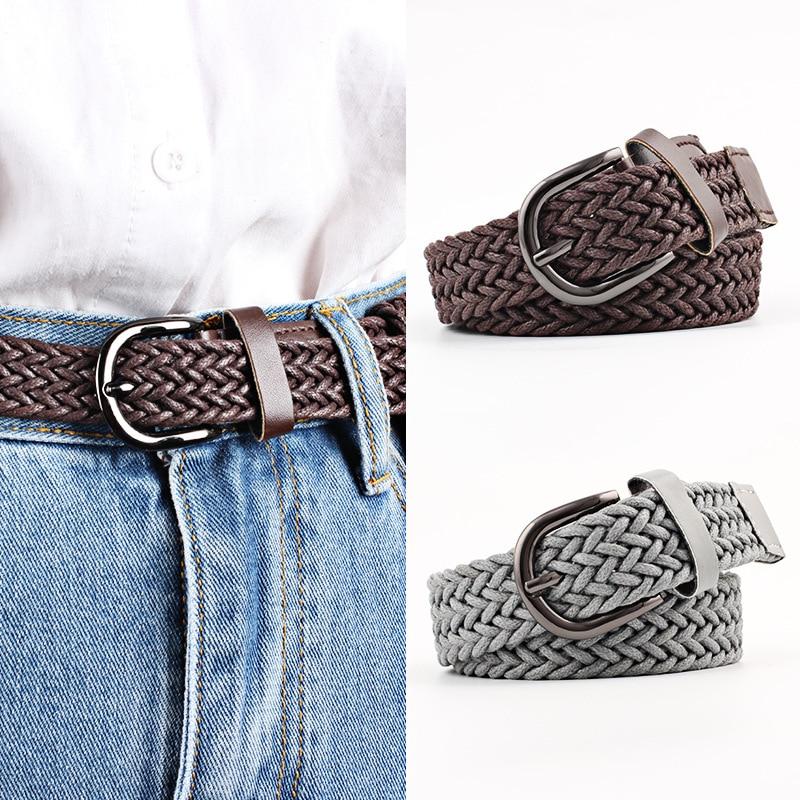 103cm Stretch Woven Belt Casual Wax Rope Braided Belt Female Belt 2019 Belts For Women Jeans Women's Belt With Metal Buckle Hot