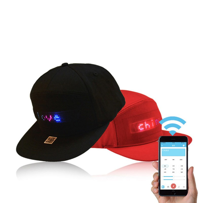 LED Display Cap Smartphone App Controlled Glow DIY Edit Text Hat Baseball Tennis Sports Cap image