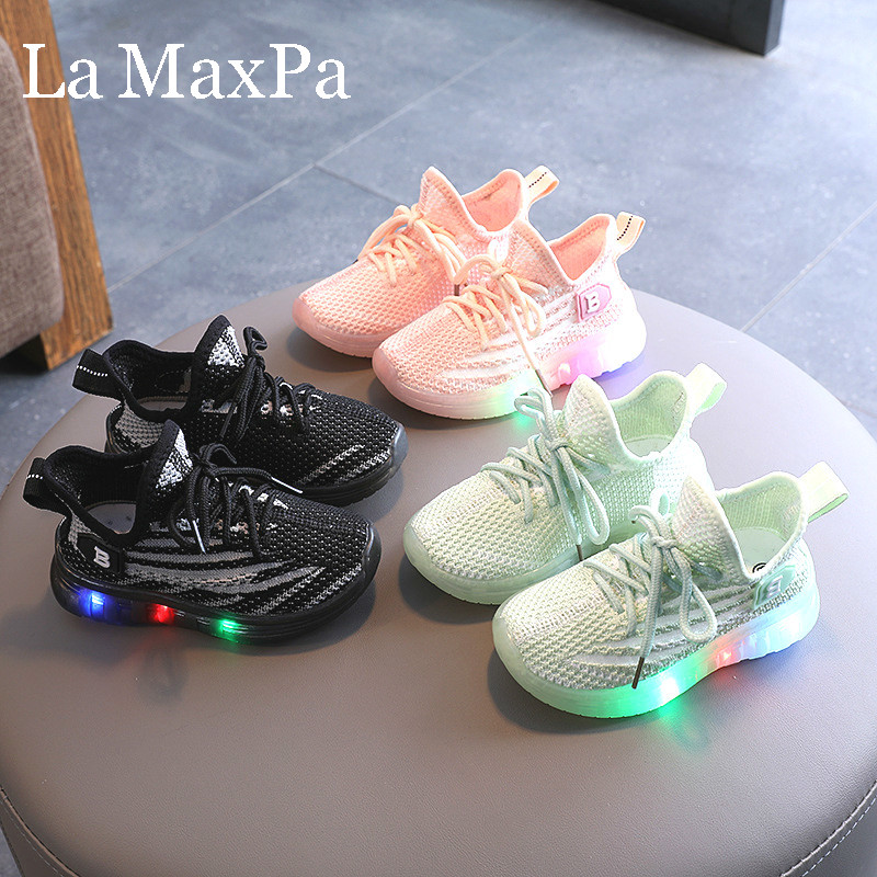 FidgetFidget LED Kids Boy Girl Sports Shoes Baby Casual Running Sneaker Mesh Shoes Breathable