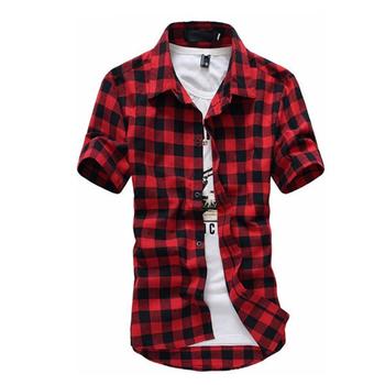 Dioufond czerwona i czarna koszula w kratę koszule męskie nowa letnia moda koszulka Homme męskie kraciaste koszule koszulka z krótkim rękawkiem mężczyzn tanie i dobre opinie CN (pochodzenie) COTTON Daily Casual Shirts SHORT Na co dzień summer Wykładany kołnierzyk Jednorzędowe REGULAR JT035