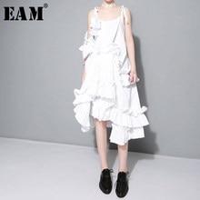 [EAM] 2021 nowa wiosna nieregularne wielowarstwowe Ruffles Solid Color luźna moda Sexy biała sukienka kobiety Trendy fala J211