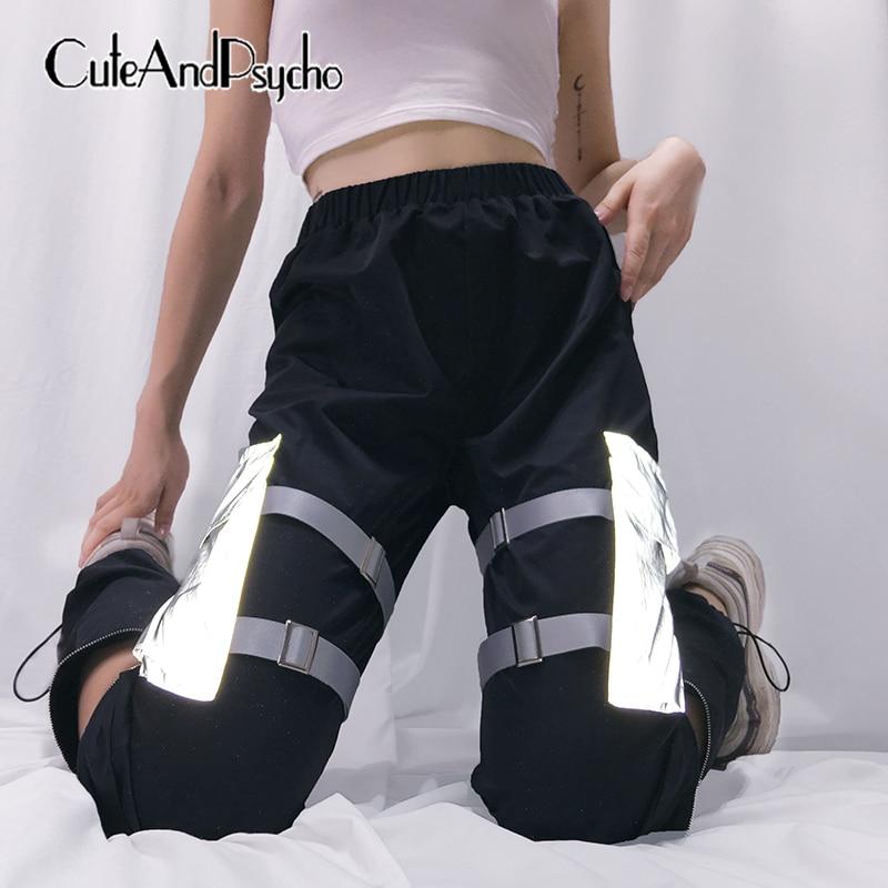 Reflective Ribbon Pockets Patchwork   Pants   Cargo High Elastic Waist Women Trousers Joggers Hip Hop   Pants     Capris   Cuteandpsycho