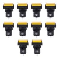 Uxcell 10 pces luzes indicadoras ac/dc 12 v  NXD-216 retângulo de néon amarelo  montagem em painel nivelado 5/8