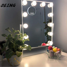 Hollywood Vanity Makeup Mirror With Light Smart Touch Control 3Colors Dimmable Light Detachable 10X Magnification 360°Rotation