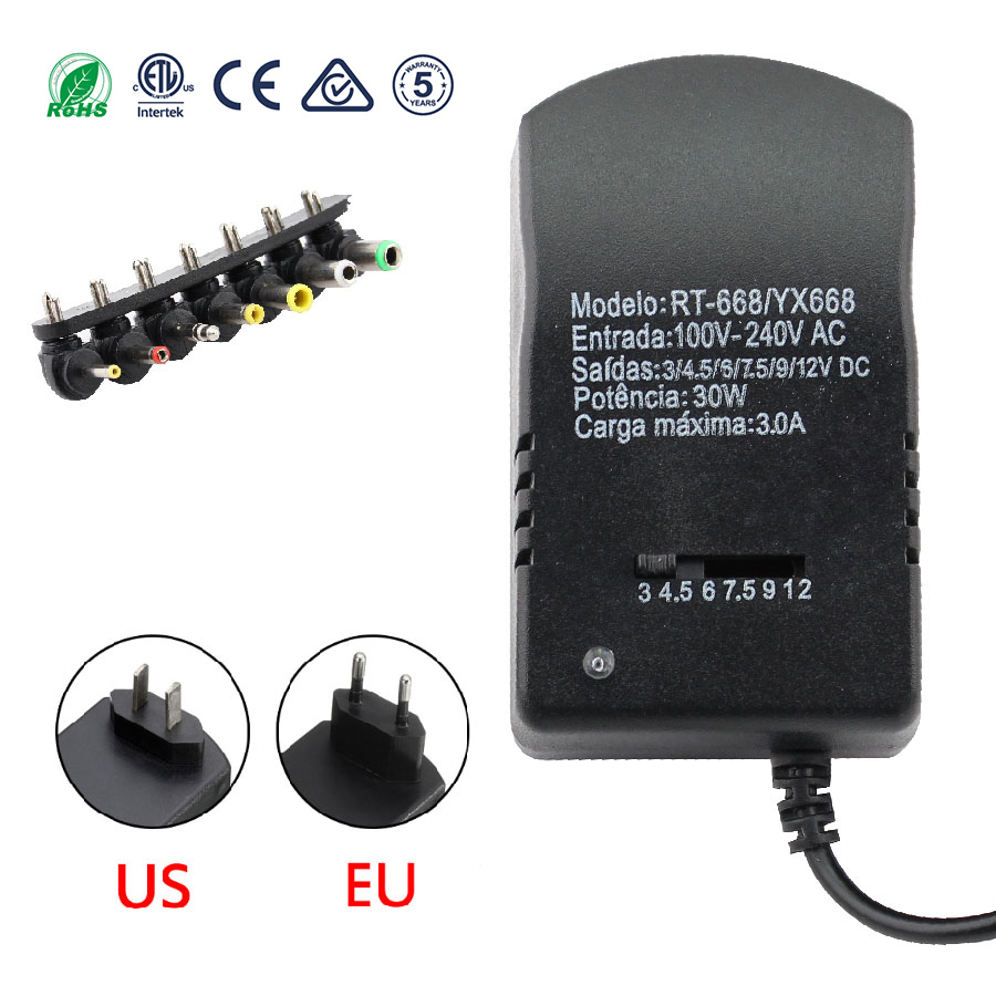 3v 4.5v <font><b>6v</b></font> 7.5v 9v 12v <font><b>3A</b></font> 30W Universal <font><b>power</b></font> adapter Multi Voltage <font><b>Power</b></font> <font><b>Supply</b></font> Adapter Converter Cable 7 Plugs adapters image