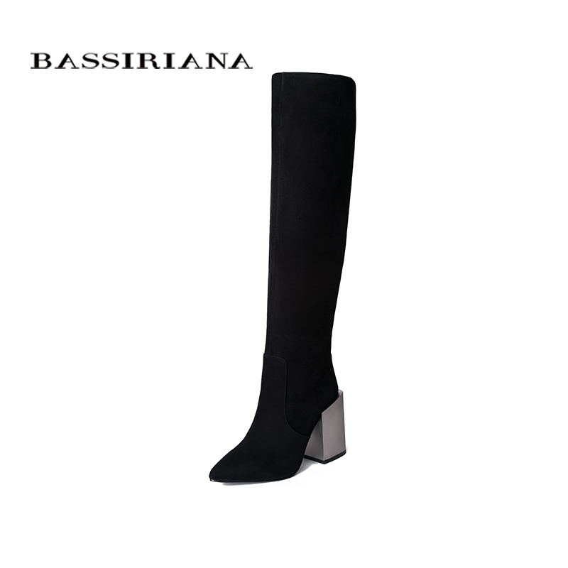 BASSIRIANA2019 new women's winter boots pointed suede boots square high heel women's boots.