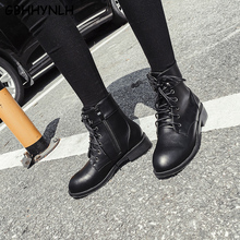 GBHHYNLH Women Platform Boots Lace Up Leather For Ladies Vintage Short Cowboy Motorcycle Shoes mujer zapato LJA818