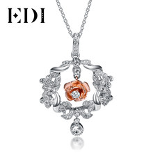 EDI Romantic Series Luxury Pave Setting Rose Flower and Leaf Halo Pendant Real 925 Sterling Silver Natural Crystal Pendant Chain(China)