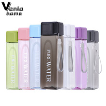 Water-Bottle Transparent-Juice Drink Milk Travel Leakproof 480ml with Rope Square Fruit