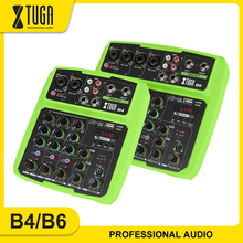 XTUGA 4/6Channels Mini Audio Mixer Built-In Sound Card Digital DJ Mixers with Bluetooth,USB,for Live Streaming,PC Recording