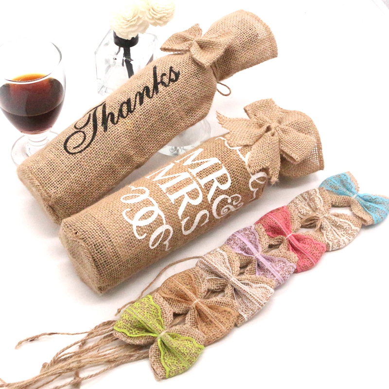 1 Piece 12 * 30cm Vintage Jute Linen Bag Red Wine Bottle Set Reusable Bottle Set Wedding Christmas Decoration Gift Wrap